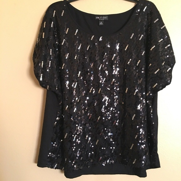 I.N.Studio Tops - I.N.Studio Black Sequin Party Cocktail Cruise Top